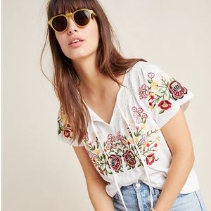 Anthropologie Elodie Cream Embroidered Top